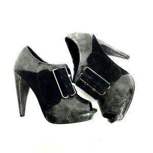 BAKERS Black Ankle Heel Booties with Suede Buckle